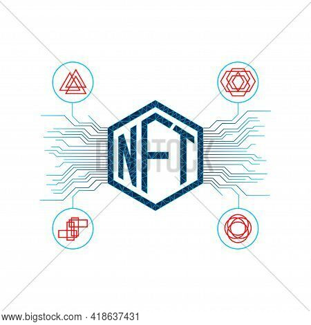 Nft Non Fungible Tokens Infographics With Pcb Tracks And Unique Tokens On White Background.. Vector