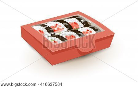 Cartoon Famous Asian Meal With Fish Cream Cheese, Cucumber And Rise. Vector Tasty Rolls With Red Cav