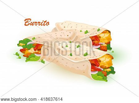 Cartoon Of Ground Meet With Veggie Rolled Into Tortilla, Corn, Wheat Tortilla With Meat Filling. Vec