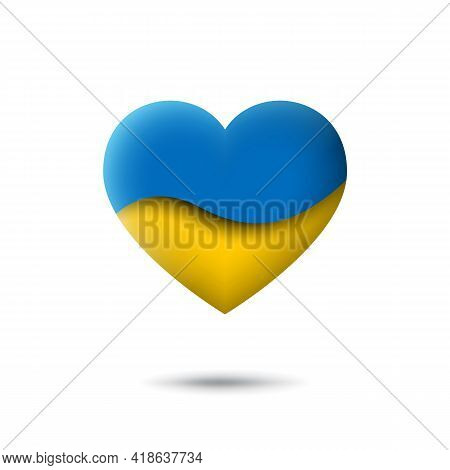 Ukraine Flag Icon In The Shape Of Heart. Waving In The Wind. Abstract Waving Flag Ukraine. Paper Cut