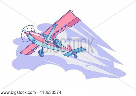 Airplane Flying In Sky Vector Illustration. Red