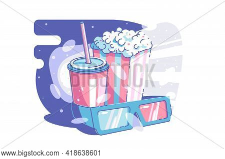 Cinema And Snack Time Vector Illustration. Tasty