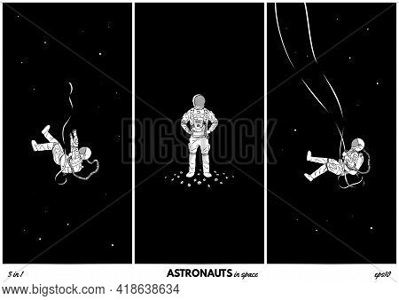 Lonely Cosmonaut. Isolated Silhouettes Of Astronaut. Man In Space Set