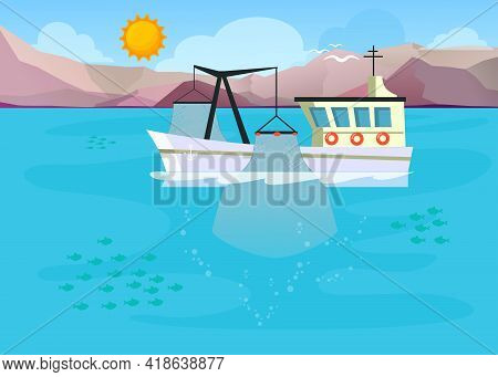 Cartoon Fishing Boat With Lowered Fishing Net Into Sea. Flat Vector Illustration. Harbor Trawler In