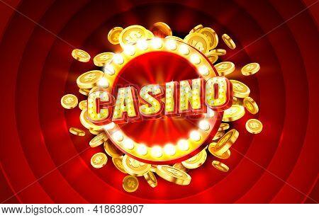 Casino Label Frame, Golden Banner, Border Winner, Vegas Game. Vector
