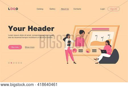 Recruit Agency Managers. Women Studying And Discussing Candidates Profile Flat Vector Illustration.