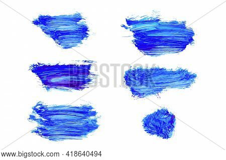 Set Of Vector Navy, Turquoise Blue Watercolor Hand Painted Texture Backgrounds Isolated On White. Ab