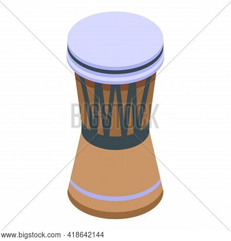 African Drum Icon. Isometric Of African Drum Vector Icon For Web Design Isolated On White Background
