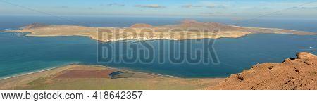 The Coast Of Mirador Del Rio And View At Graciosa Island On Lanzarote, Spain