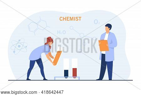 Cartoon Chemists Conducting Experiment. Scientists Pouring Liquid From Testing Tube In Laboratory Fl