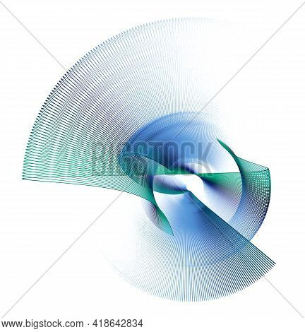 Blue And Green Striped Straight, Zigzag, Arcuate Abstract Propeller Blades Revolve On A White Backgr