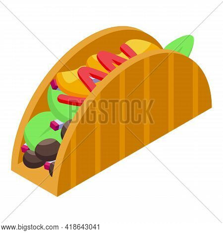 Dinner Tacos Icon. Isometric Of Dinner Tacos Vector Icon For Web Design Isolated On White Background