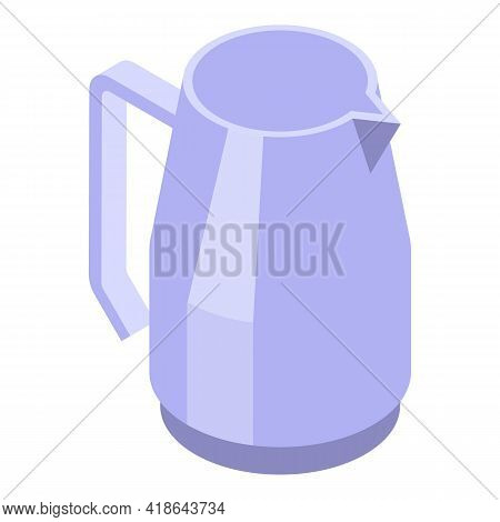 Steel Kettle Icon. Isometric Of Steel Kettle Vector Icon For Web Design Isolated On White Background