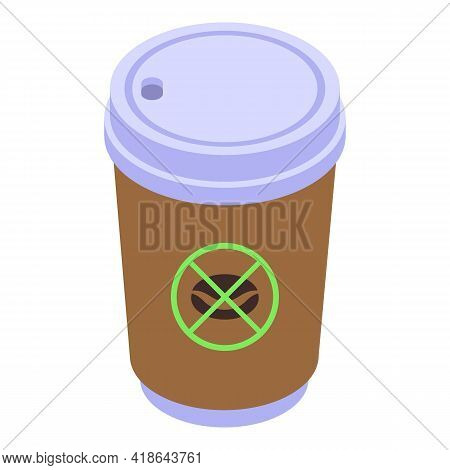 Decaffeinated Coffee To Go Cup Icon. Isometric Of Decaffeinated Coffee To Go Cup Vector Icon For Web