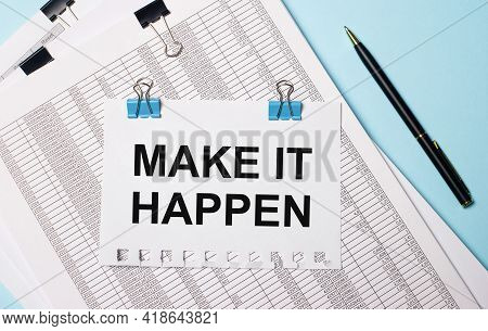 On A Light Blue Background, Documents, A Pen And A Sheet Of Paper On Blue Paper Clips With The Text