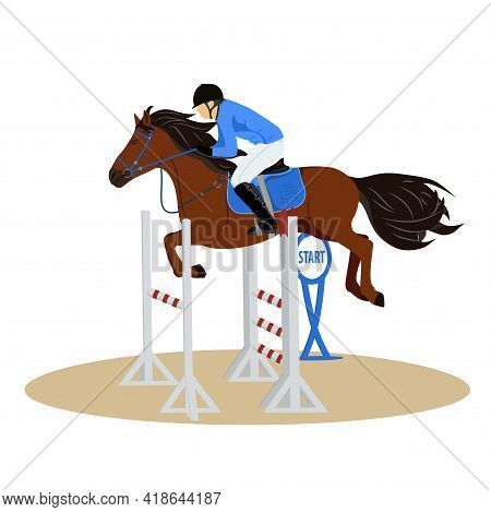 Horse With Rider Jumping Over The Barrier. Jockey On Horse. Horse Riding. Equestrian Sport. Isolated