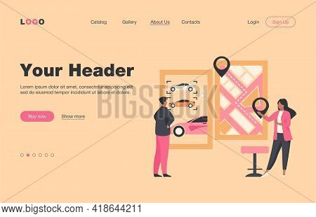 Man Renting Car. Car Sharing App, City Map With Pointers. Consultant Flat Vector Illustration. Trans
