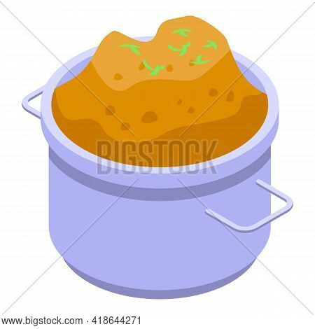 Mashed Potatoes Pot Icon. Isometric Of Mashed Potatoes Pot Vector Icon For Web Design Isolated On Wh