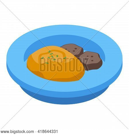 Mashed Potatoes Meat Icon. Isometric Of Mashed Potatoes Meat Vector Icon For Web Design Isolated On