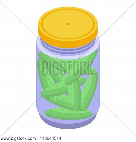 Pickled Green Cucumber Icon. Isometric Of Pickled Green Cucumber Vector Icon For Web Design Isolated