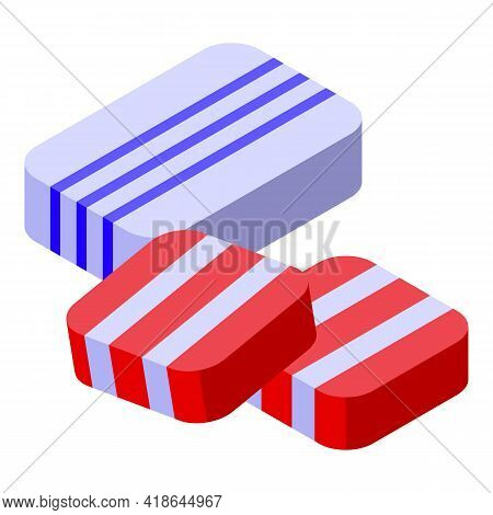 Christmas Candy Gums Icon. Isometric Of Christmas Candy Gums Vector Icon For Web Design Isolated On