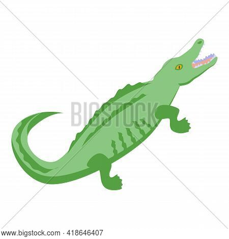 African Crocodile Icon. Isometric Of African Crocodile Vector Icon For Web Design Isolated On White