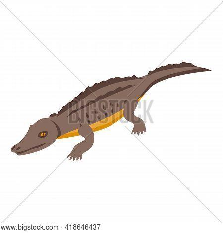 Wild Crocodile Icon. Isometric Of Wild Crocodile Vector Icon For Web Design Isolated On White Backgr