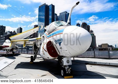 New York City, Usa - June 21, 2018: Grumman A6- Intruder Fighter Aircraft In Intrepid Museum In New