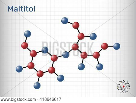 Maltitol Molecule. It Is Sweetener, Sugar Substitute, Polyol, Sugar Alcohol. Sheet Of Paper In A Cag