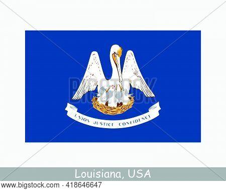 Louisiana Usa State Flag. Flag Of La, Usa Isolated On White Background. United States, America, Amer