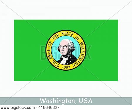 Washington Usa State Flag. Flag Of Wa, Usa Isolated On White Background. United States, America, Ame