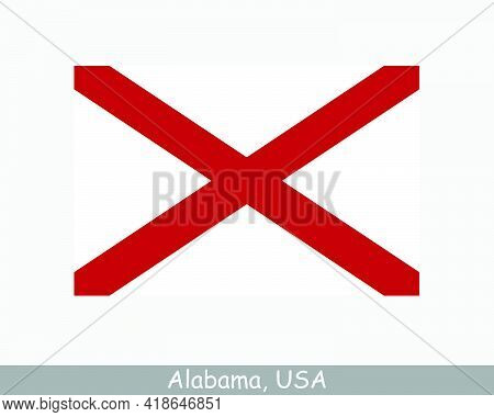 Alabama Usa State Flag. Flag Of Al, Usa Isolated On White Background. United States, America, Americ