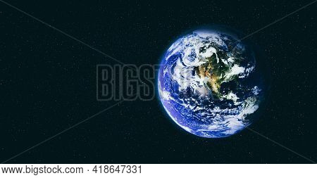 Planet Earth Globe View From Space Showing Realistic Earth Surface And World Map As In Outer Space P