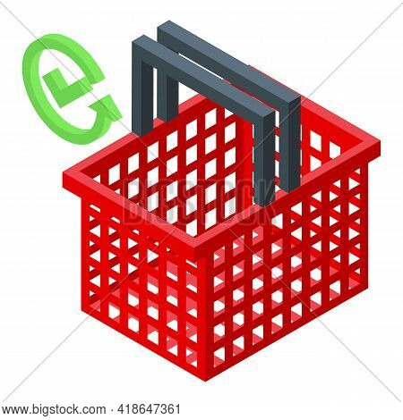 Purchase History Shop Basket Icon. Isometric Of Purchase History Shop Basket Vector Icon For Web Des