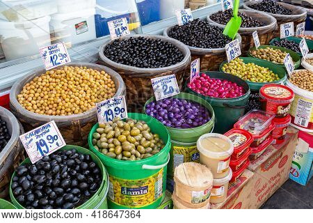 Ankara, Turkey - October 12, 2020: This Is An Abundant Olive Stall In One Of The Grocery Markets.