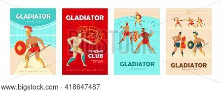 Trendy Poster Designs With Coliseum Gladiators. Vivid Brochures With Ancient Warriors With Swords An