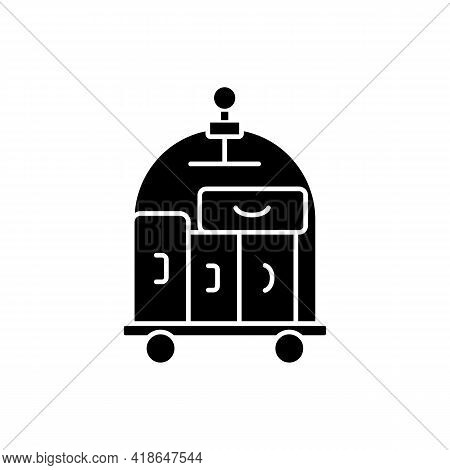Porter Service Black Glyph Icon. Carrying Guest Luggage To The Guests Room. Escorting Guests To Thei
