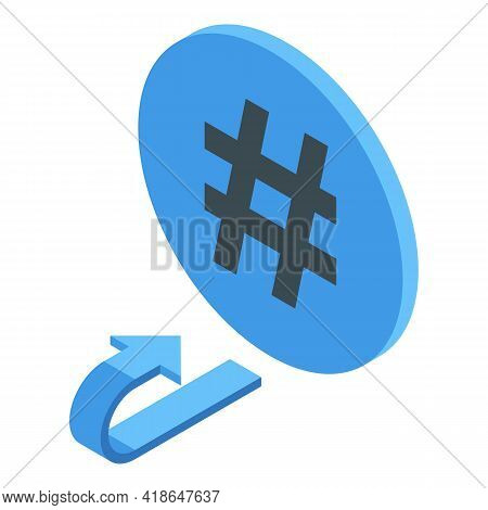 Hashtag Repost Icon. Isometric Of Hashtag Repost Vector Icon For Web Design Isolated On White Backgr