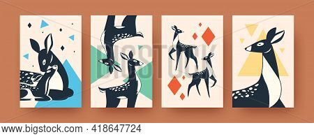 Set Of Abstract Deer Silhouettes In Scandinavian Style. Decorative Banners With Mammals Vector Illus