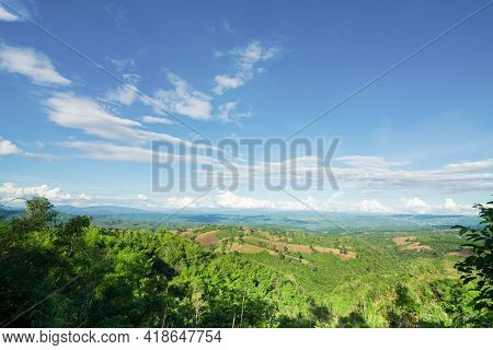 Panorama Of Beautiful Countryside Of Phu Ruea, Loei,thailand, Sunny Afternoon. Wonderful Springtime