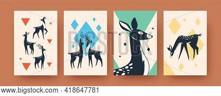 Set Of Abstract Wild Deer In Scandinavian Style. Geometric Elements And Proud Deer In Vector Illustr