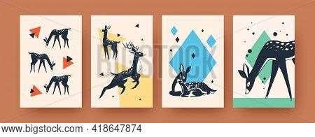 Bright Collection Of Contemporary Art Posters With Deer. Stylish Leaflets With Cute Deer In Vector I