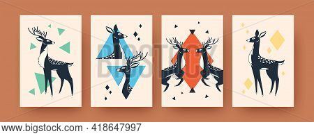 Set Of Abstract Banners With Deer Shapes In Scandinavian Style. Creative Cute Mammals And Female Dee