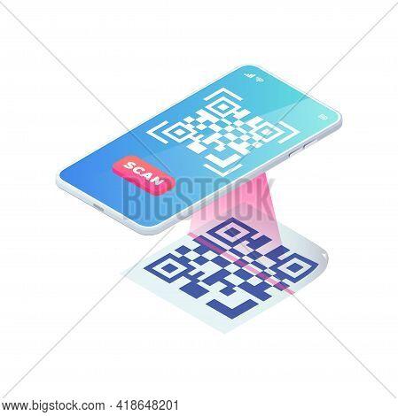 Scan Qr Code Via Smartphone. 3d Mobile Scanning Barcode Concept, Qr Verification Isometric Vector. Q