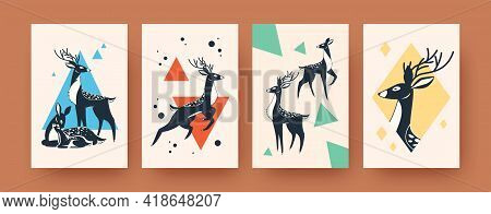 Set Of Abstract Banners With Deer In Scandinavian Style. Creative Deer Family And Horned Animal Vect