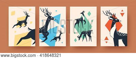 Creative Deer Collection Of Contemporary Art Posters. Funny Wild Mammals In Vector Illustrations. Fo