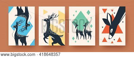 Set Of Abstract Wild Deer Silhouettes In Ink Style. Geometric Shapes And Cute Deer Vector Illustrati