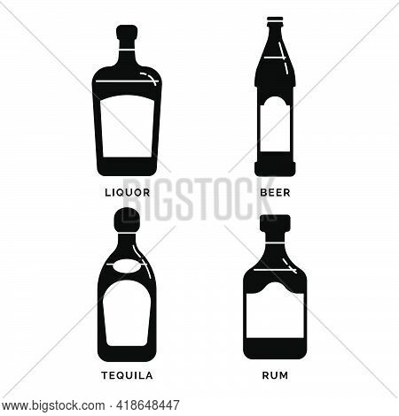 Bottle Liquor Beer Tequila Rum As Silhouette. Alcohol Drink Drawing. Black White. Decoration Element