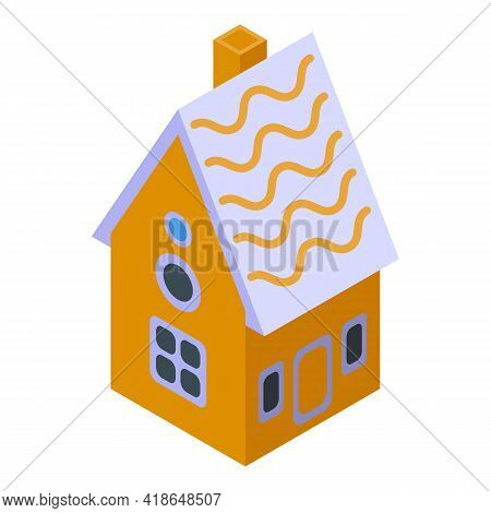 Snack Gingerbread House Icon. Isometric Of Snack Gingerbread House Vector Icon For Web Design Isolat