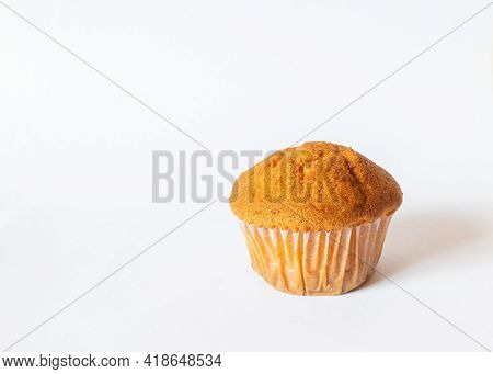 Baked Muffin With White Background And Shadow And Selective Focus.